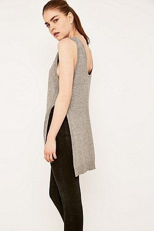 gray tank top with slit and black jeans