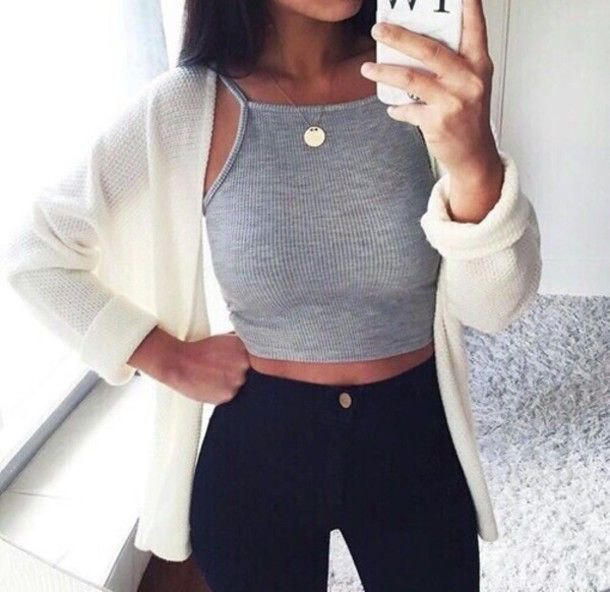 gray tank with white cardigan and black jeans