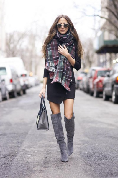 gray tartan scarf black wrap mini dress