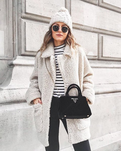 gray teddy coat with black and white striped t-shirt