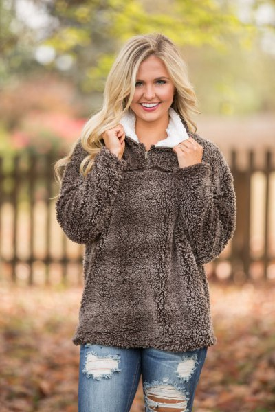 gray teddy sweater with white collar