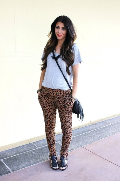 gray t-shirt cheetah harem pants