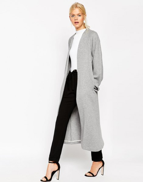 gray structured maxi jacket
