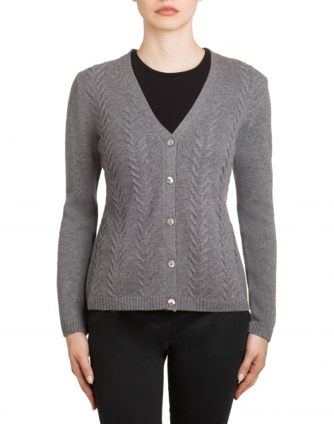 gray structured cardigan with V-neck and black skinny jeans