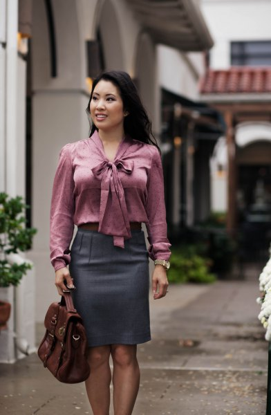 gray blouse in front with matching pencil skirt