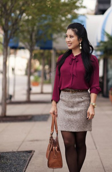 gray tie blouse with mini skirt and brown tights