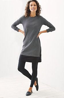 gray tunic long-sleeved top with black leggings and leather loafers
