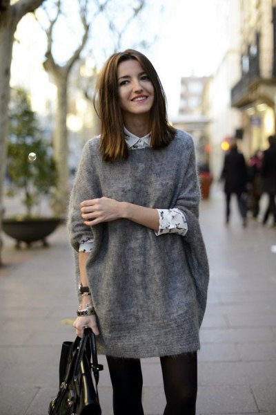 gray tunic sweater with white printed shirt blouses