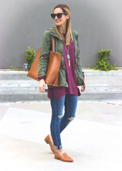 gray tunic top with denim jacket and jeans with cuffs