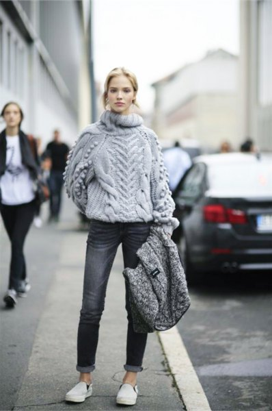 Chunky Sweater Cuffed Jeans with a gray turtleneck