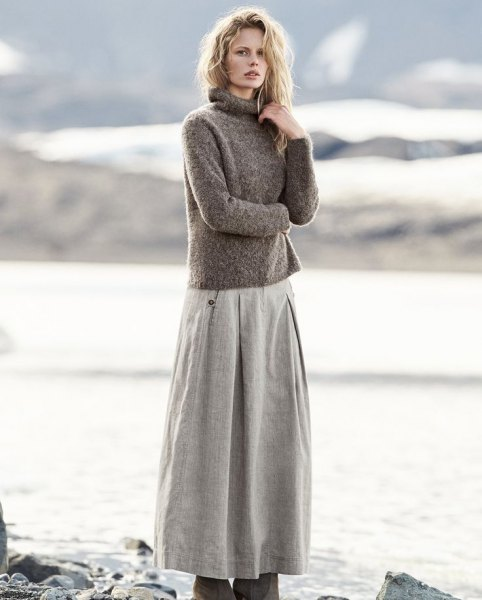gray turtleneck knit sweater with maxi flared linen skirt