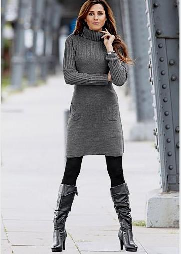 gray turtleneck dress with black knee-high leather boots