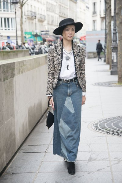 gray collarless tweed blazer with a long denim skirt