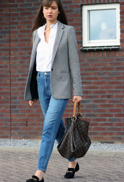 Oversized gray tweed blazer with mom jeans and suede loafers