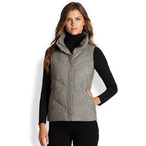 gray tweed puffer vest all black outfit