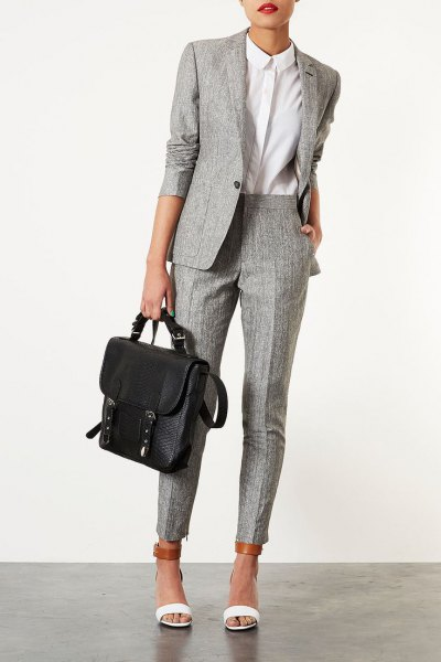 gray tweed suit white shirt with buttons