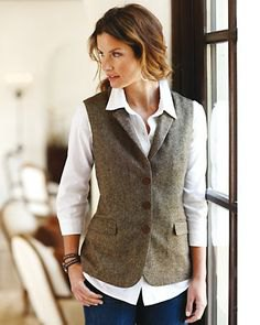 gray tweed vest white button shirt