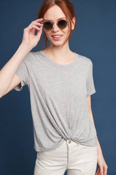 gray twist front t-shirt with white jeans