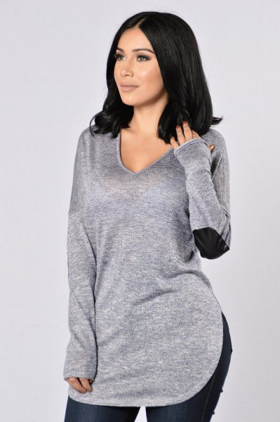gray sweater with V-neck and elbow patches