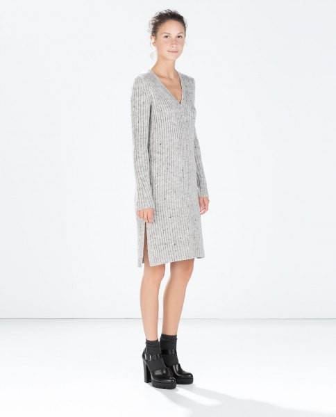 gray knitted sweater dress with V-neck