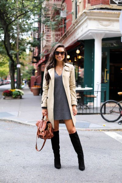 gray pullover dress with V-neckline and beige longline trench coat
