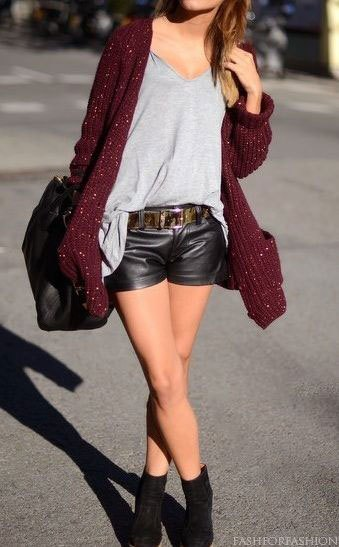 gray leather t-shirt cardigan with V-neck