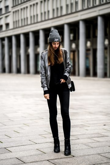 gray velvet bomber jacket with black super skinny jeans