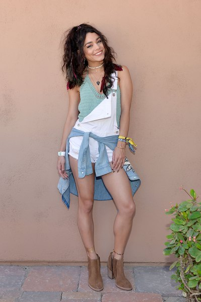 gray chambray shirt with vest tied around the waist