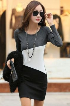 gray white and black color block long sleeved bodycon mini dress
