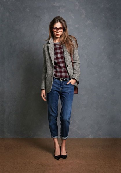 gray wool blazer with checked sweatshirt and cuffed jeans