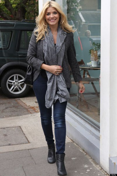 gray wool blazer with a long silk scarf and black boots