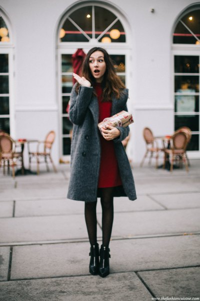 gray wool coat dress with black leggings leather boots