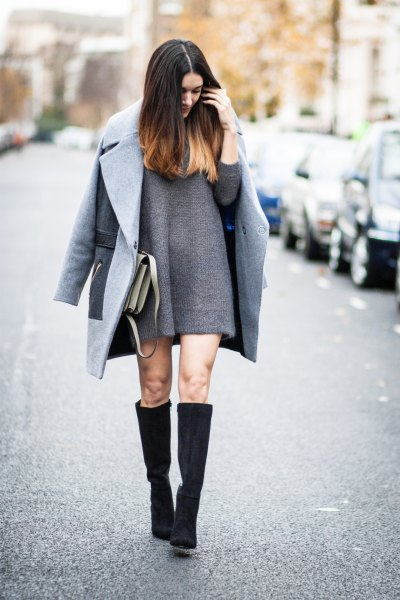 knee-high boots made of a gray wool coat