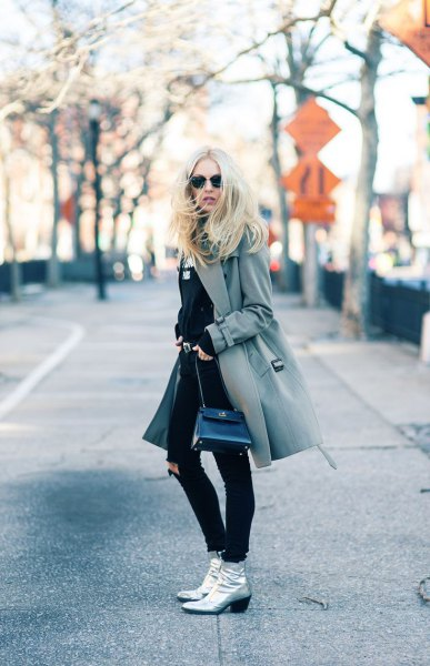 gray wool coat silver leather ankle boots