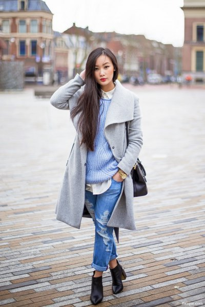 long gray wool coat with a ribbed sweater and boyfriend jeans