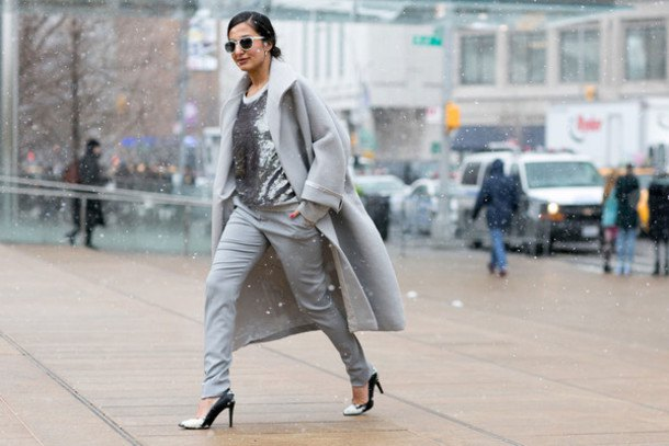 gray long wool coat with a silver sequin blouse
