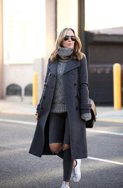 gray wool maxi coat with thick turtleneck sweater