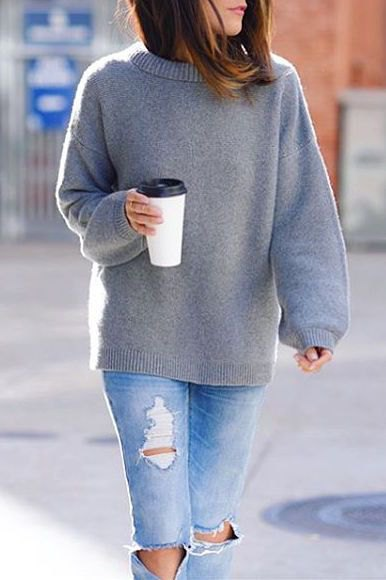 gray wool sweater ripped jeans