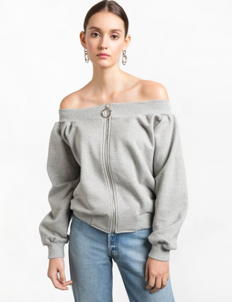 gray zip on the front of the shoulder sweatshirt