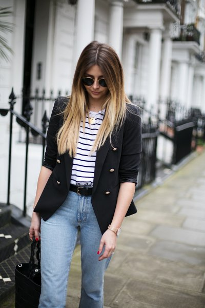 Half-sleeve blazer with black and white striped T-shirt