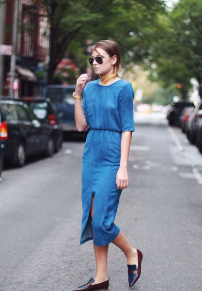 blue two-piece midi dress with half sleeves and pointed leather shoes