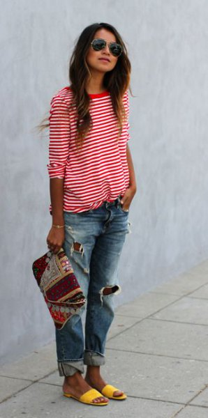 red and white striped t-shirt with half sleeves, ripped boyfriend jeans