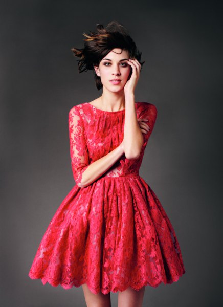 red lace skater dress with half sleeves