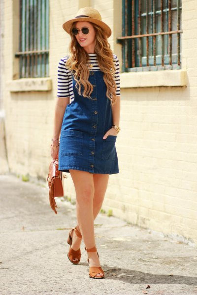 striped t-shirt straw hat with half sleeves