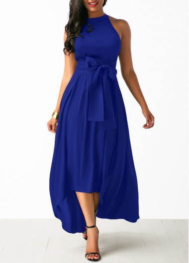 Maxi dress with a halterneck fit and a flared maxi tie waistband with open toe heels
