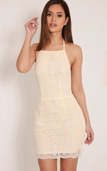 Mini lace dress with a halterneck fit and flare