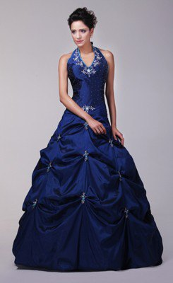 Neckholder dark blue fit and floor-length dress with flared flare