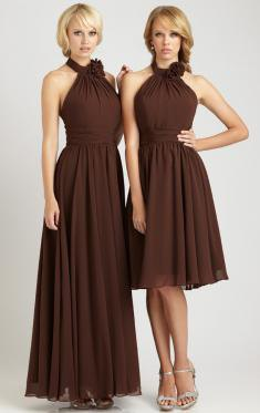 Halter Fit and Flare Pleated Brown Dress