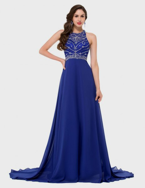 Sequin fit with halter neckline and a flared, royal blue, long dress