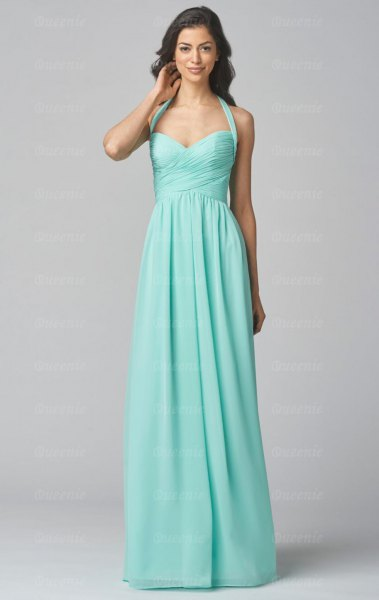 Halter neckline with a sweetheart neckline and a flared maxi dress
